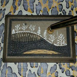 Vintage hamdmade desk paperweight pen holder